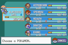 Pokemon Fire Red - Battle  - My team - User Screenshot