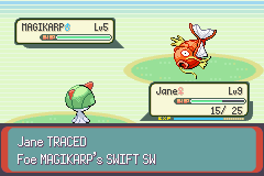 Pokemon Emerald - Battle  - And he has only Magikarps on Lv5... - User Screenshot