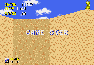 Sonic 2 - The Lost Worlds - Gameover  - a gameover in dust hill. - User Screenshot