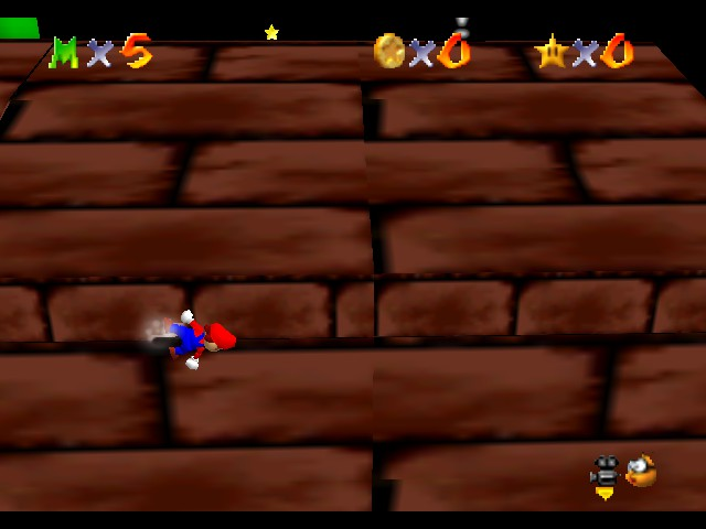 Super Mario 64 - The Missing Stars - Misc woah what glitch what - I became one with the wall. - User Screenshot