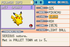 Pokemon Ash Gray (beta 3.61) - Introduction  - My pikachu name is SPARKY like rechis   - User Screenshot