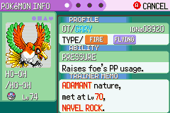Pokemon Rebirth - Character Profile  - caught HO-HO with a great ball :) - User Screenshot