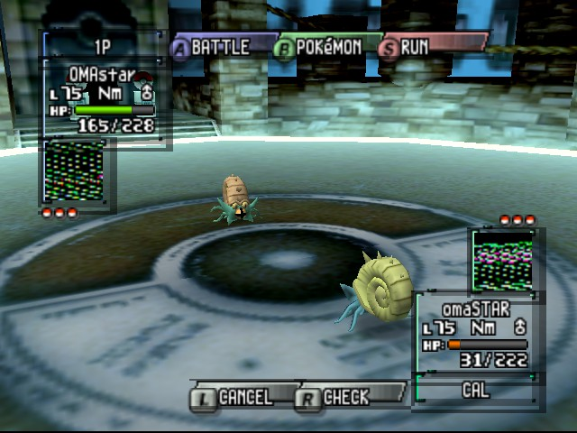 Pokemon Stadium 2 - Battle  - shiny omastar vs omastar - User Screenshot