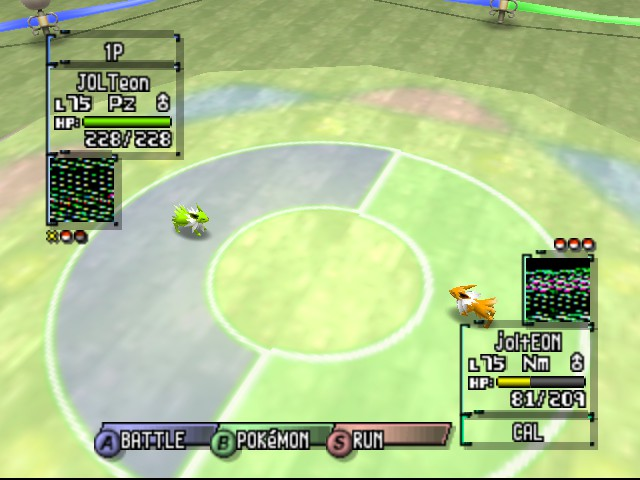 Pokemon Stadium 2 - Battle  - Shiny jolteon vs jolteon - User Screenshot