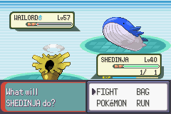 Pokemon Emerald - Battle  - Shedinja is boss - User Screenshot