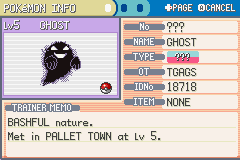 Pokemon Creepy Black (demo v0.05 final) - Character Profile  - My Ghost is Bashful? - User Screenshot