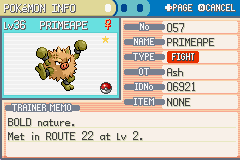 Pokemon Fire Red - Character Profile  - MY BEASTLY SHINY PRIMAPE - User Screenshot