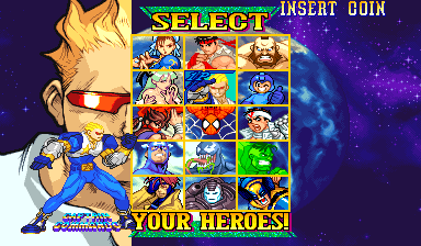 Marvel Vs. Capcom: Clash of Super Heroes (Euro 980123) - Character Select  - Captain Commando - User Screenshot