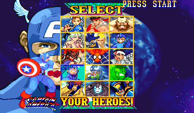 Marvel Vs. Capcom: Clash of Super Heroes (Euro 980123) - Character Select  - Captain America - User Screenshot