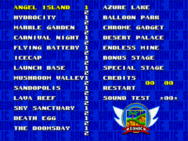 Sonic 3 Delta - Level Select - Level select screen. - User Screenshot