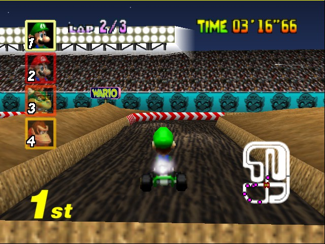 Mario Kart 64 - Level Wario Stadium - jump! - User Screenshot