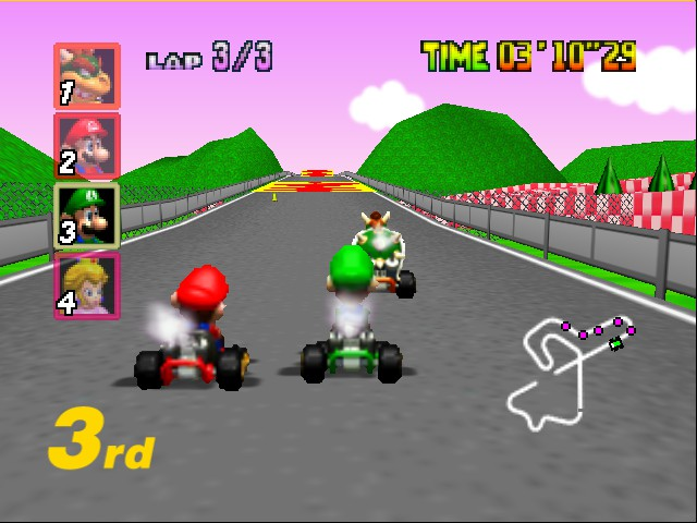 Mario Kart 64 - Level Royal Raceway - Neck and neck on final lap - User Screenshot