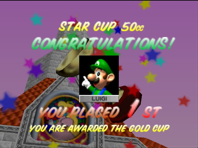 Mario Kart 64 - Ending  - Mama Luigi wins! - User Screenshot