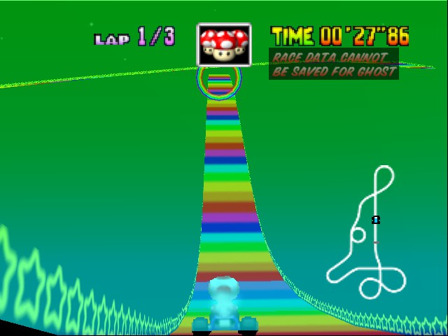 Mario Kart 64 - Level Rainbow Road - weird view - User Screenshot