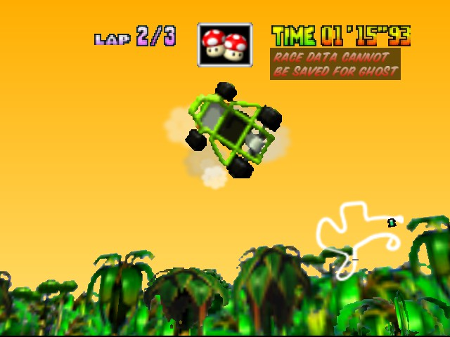 Mario Kart 64 - Level DK Jungle Parkway - boat ruins shortcut! - User Screenshot