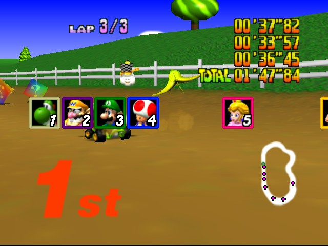 Mario Kart 64 - Level Moo Moo Farm - one of my first firsts! - User Screenshot