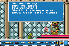 Super Mario Advance 4 - Super Mario Bros. 3 - Cut-Scene  - King: Shall I change you back? Mario: Ribbit. - User Screenshot