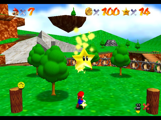 Super Mario 64 - Level Bob-omb Battlefield - Activating two stars simultameoulsly  - User Screenshot