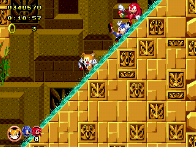 Sonic Classic Heroes - Level Labyrinth Zone - Whoa!! - User Screenshot