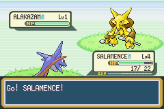 Salamence drew out a Psychic type. Lucky me.