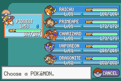 Pokemon Fire Red - Character Profile team - pokmon team - User Screenshot