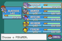 Pokemon Fire Red - Character Profile Party - my actual team - User Screenshot