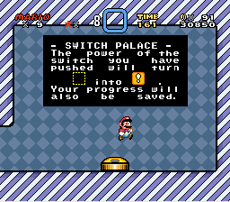 Super Mario World - Level  - The first Switch Palace - User Screenshot
