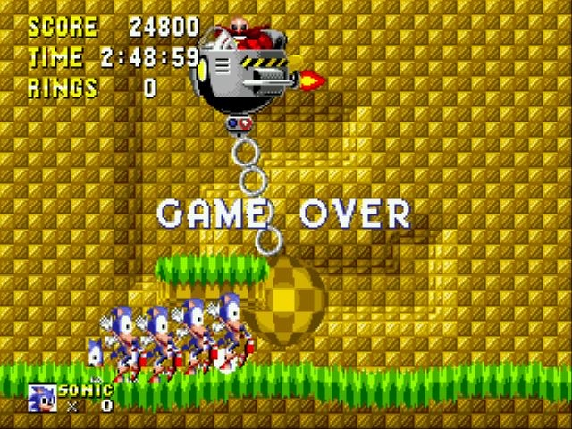 Sonic 1 Megamix (beta 4.0) - Gameover  - thats weird - User Screenshot