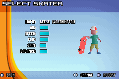 Backyard Skateboarding - Character Select  - a new look for reese? - User Screenshot