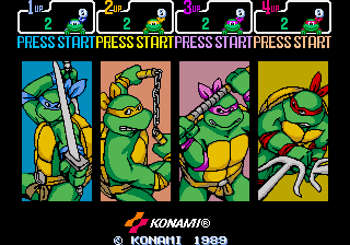 Donatello -Menus Screen after coin insertion:this isn