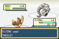 Pokemon Fire Red - Battle  - finishing blow to onix when pidgey was lv6 - User Screenshot