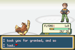 Pokemon Fire Red - Battle  - Pidgey beat Brock, and was level 9 :3 - User Screenshot