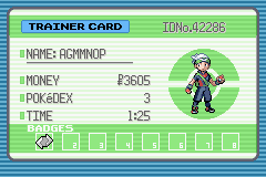Pokemon Emerald - Character Profile Trainer Card - Gym Badge #1 - User Screenshot