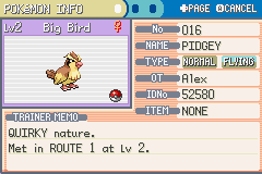 Pokemon Fire Red - Character Profile Summary - Team Member #1 - User Screenshot