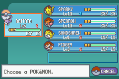 Pokemon Ash Gray (beta 3.61) - Level Select  - Before Going to Viridian Forest  - User Screenshot