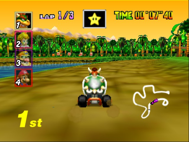Mario Kart 64 - Level DK Jungle Parkway - Im owning with a star... IN 1ST! - User Screenshot