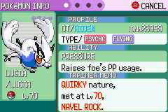 Pokemon Rebirth - Character Profile Lugia - First legendary that i caught - User Screenshot