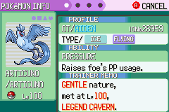 Pokemon Rebirth - Character Profile Articuno - Finally :P - User Screenshot