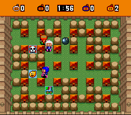 Bomberman (blue) -Level :Wooded area. - User Screenshot
