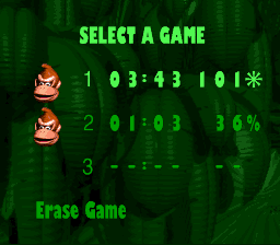 Donkey Kong Country - Menus Game Select - who needs 100% when you have 101% - User Screenshot