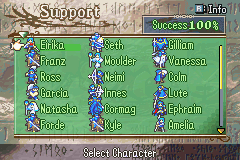Fire Emblem - The Sacred Stones - Menus Extras - full support convos! - User Screenshot