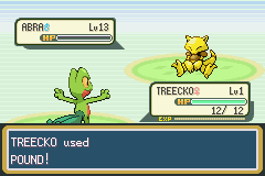 Pokemon Shiny Gold - Misc Battle - Level 1 treecko defeating a level 13 abra - User Screenshot