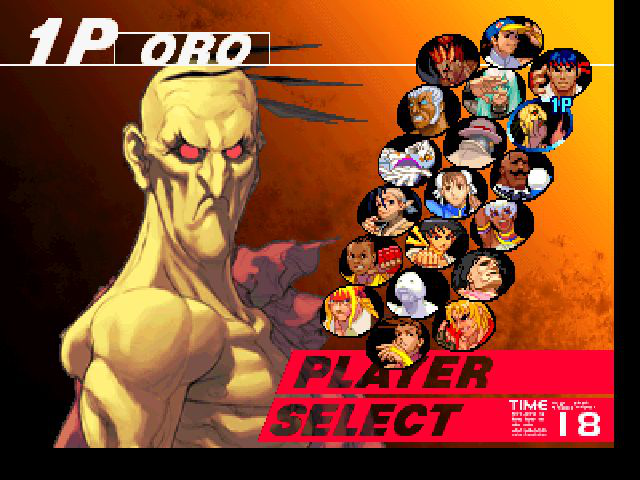 Street Fighter III: Third Strike - Character Select  - Oro looks really really angry - User Screenshot