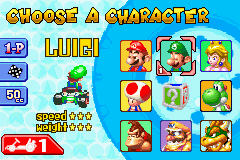 Mario Kart - Super Circuit - Character Select  - The character select screen - User Screenshot