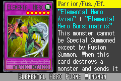 Yu-Gi-Oh! GX - Duel Academy - Character Profile  - Elemental Hero Flame Wingman. - User Screenshot