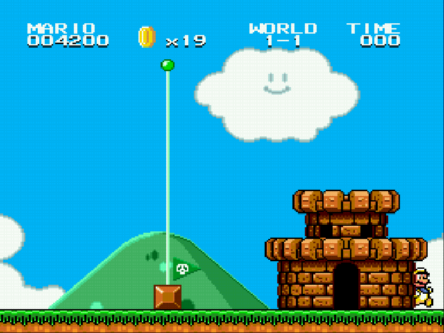 Super Mario Bros II 1998 (hack) - Level World 1-1 - He came out of the castle lol - User Screenshot