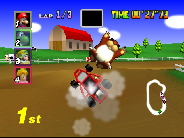 Mario Kart 64 - Level Moo Moo Farm - I accidently crashed into a Monty Mole! - User Screenshot