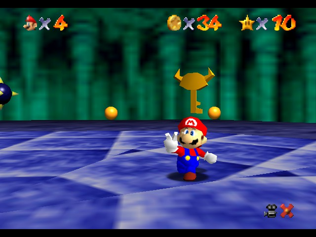 Super Mario 64 - Level Bowser In the Dark World - The first key! - User Screenshot