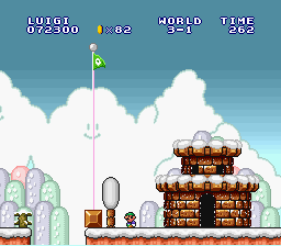 Super Mario All-Stars  Super Mario World - Level  - I went over the flagpole in SMB2J - User Screenshot