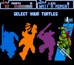 Teenage Mutant Ninja Turtles IV - Turtles in Time - Character Select  - Comic Raphael (Hardly any difference, eh?) - User Screenshot